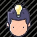 bulb, business, head, idea, light, solution icon