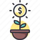 economy, growth, money, plant icon
