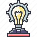 bulb, gear, light, problem, solution, solve icon