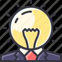 bulb, business, businessman, light, man, person icon