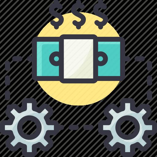cash, dollar, gear, generate, money, process icon