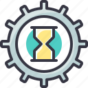 clock, gear, process, time, wait icon