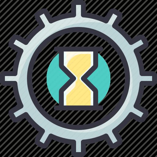 clock, gear, process, time, wait icon