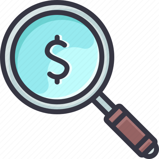 glass, magnifying, money, reseach, search icon