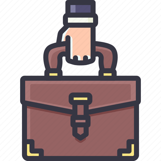 bag, brief, business, case, hand, holding, work icon
