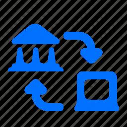 arrows, bank, laptop, transfer icon