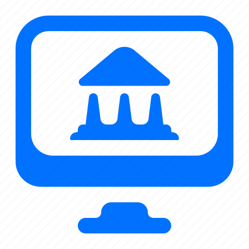 bank, computer, monitor icon