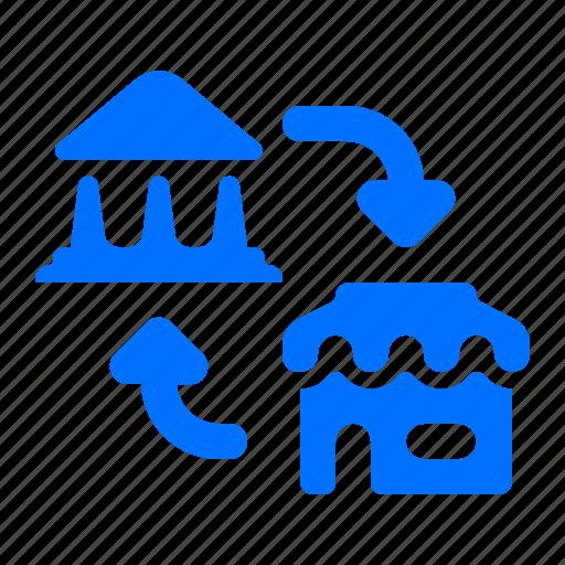 arrows, bank, store, transfer icon
