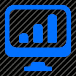 bar, chart, computer, monitor icon