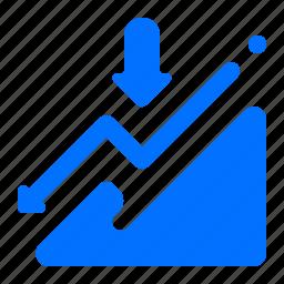 arrow, chart, down, fall icon