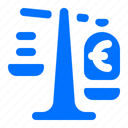 currency, euro, finance, scale icon