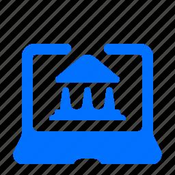 bank, laptop, online icon