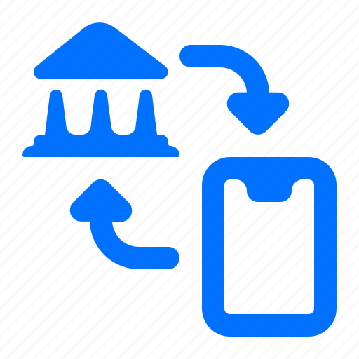 bank, mobile, transfer icon