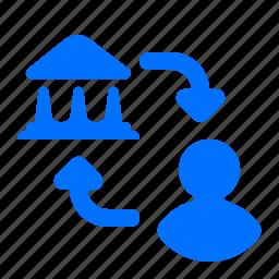 bank, person, transfer icon