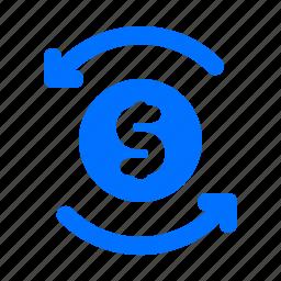 currency, dollar, finance, refresh icon