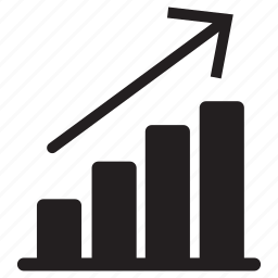 arrow, bars, business, chart, profits, rising, up icon