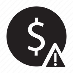 alert, business, circle, currency, dollar, sign, warning icon