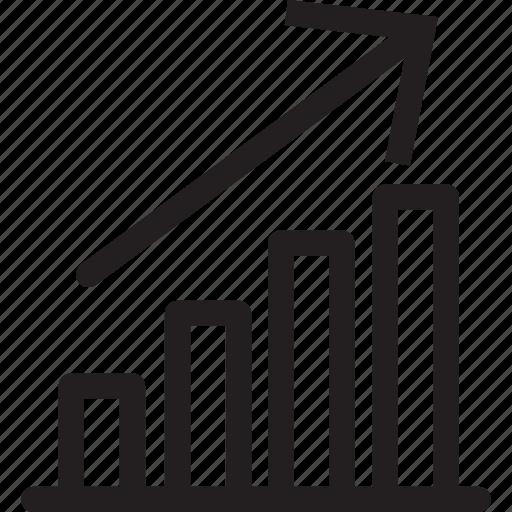 arrow, bars, business, presentation, rise, up icon