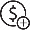 add, bank, circle, dollar, sign icon