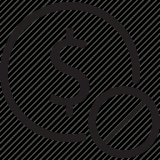 bank, block, dollar, prohibit, sign icon