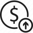 bank, dollar, move, sign, up icon