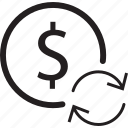 arrow, bank, dollar, refresh, sign