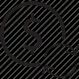 arrow, bank, dollar, refresh, sign icon