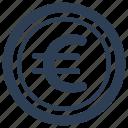 coins, currency, euro, money, treasure icon