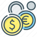 coins, currency, market, money icon