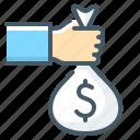 bag, investment, loan, money, sponsor icon