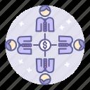 affiliate, business, finance, management, team, work icon