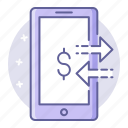 banking, business, finance, mobile, transfer icon