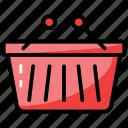 basket, grocery bucket, picnic basket, picnic bucket, shopping cart icon