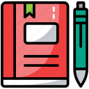 book with pencil, learning, notebook, stationary equipment, teaching icon