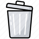dustbin, garbage bin, junk bin, trash bin, trash can icon