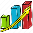 business analytics, business growth, financial analysis, graph presentation, growth chart icon