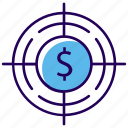 business aim, business goal, financial goal, funds hunting, money hunting icon
