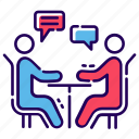 business chat, business communication, chat, conversation, discussion, table talk icon