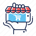 e-commerce, hand, mobile app, online shopping icon