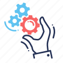 gears, mechanism, solutions, tools icon