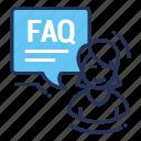 faq, female, question, support