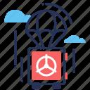 insurance, parachute, risk, vault icon