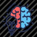 brain, bulb, creative process, idea