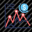 analysis, chart, money, up icon
