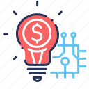 bulb, idea, innovation, profit icon