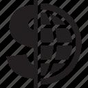 doller, earth globe, earth grid, globe grid, interface, world, worldwide icon