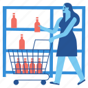 demand, supply, supermarket, shopping, cart