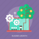 business, bussines growth, money, signal, study, tree icon