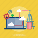 business, cloud, laptop, phone, services, setting, technology icon