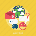 chat, consulting, discussion, email, global, help icon
